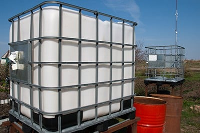 Aquaponic tank in the garden