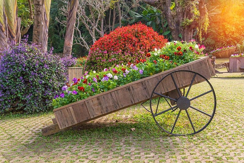 Repurposed Trolley Flower Bed