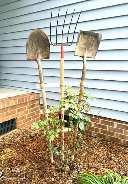 Repurposed Garden Tools Trellises