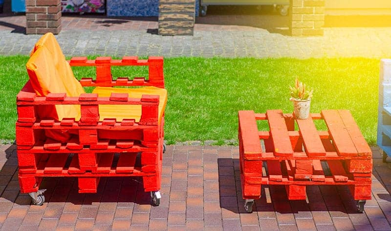 Colorful Table and Bench From Pallets